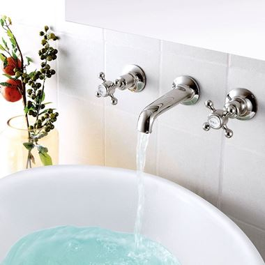 Butler & Rose Caledonia Cross 3 Hole Wall Mounted Basin Mixer Tap